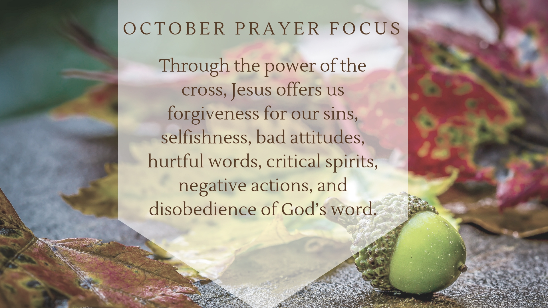 October Prayer Focus