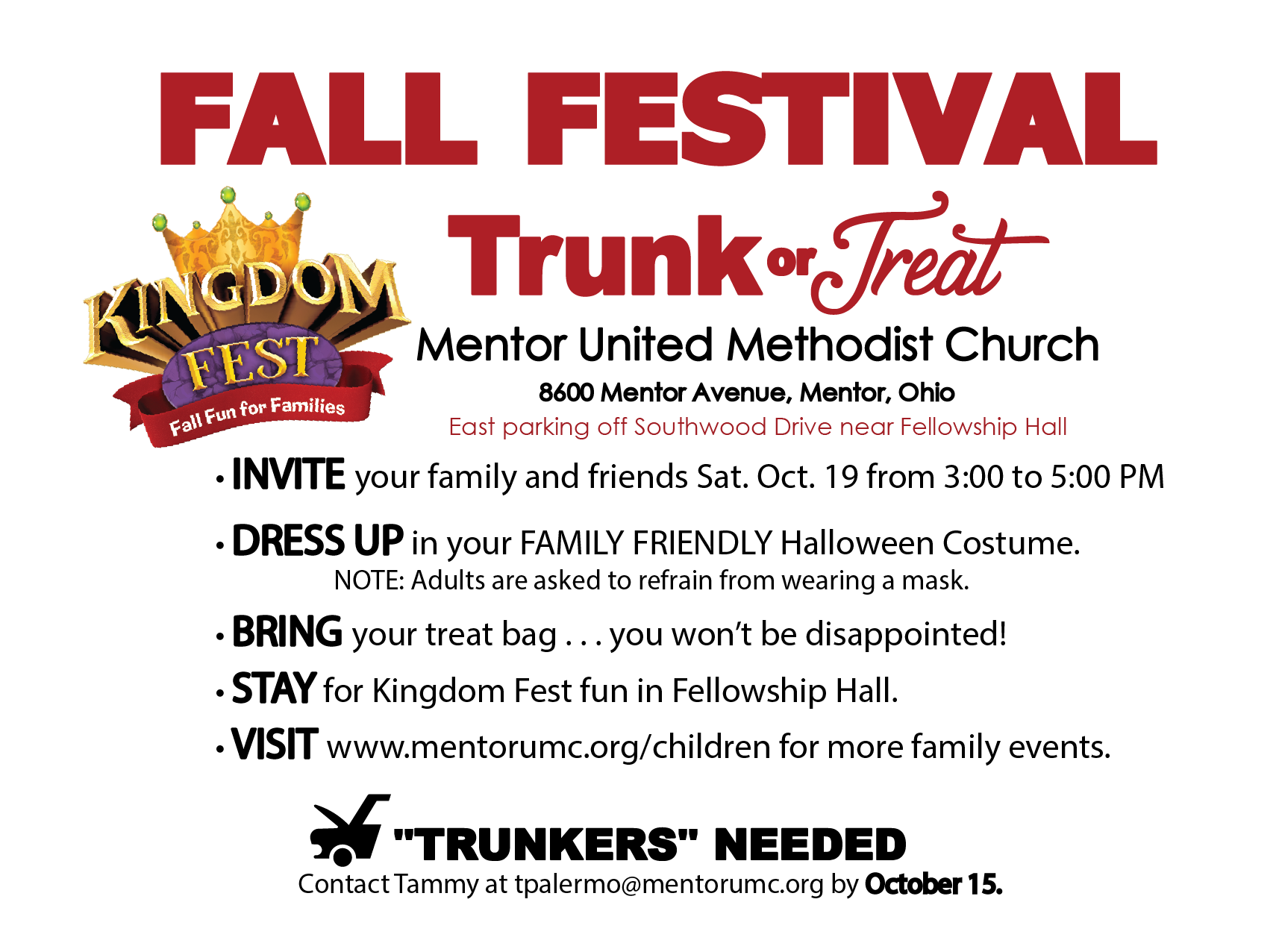 Sign up to be a Trunker at Fall Fest's Trunk or Treat!